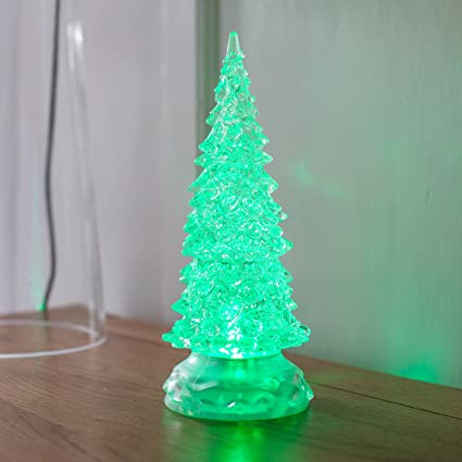 Colour Changing Swirling Glitter Water Battery LED Xmas Tree Light Decoration