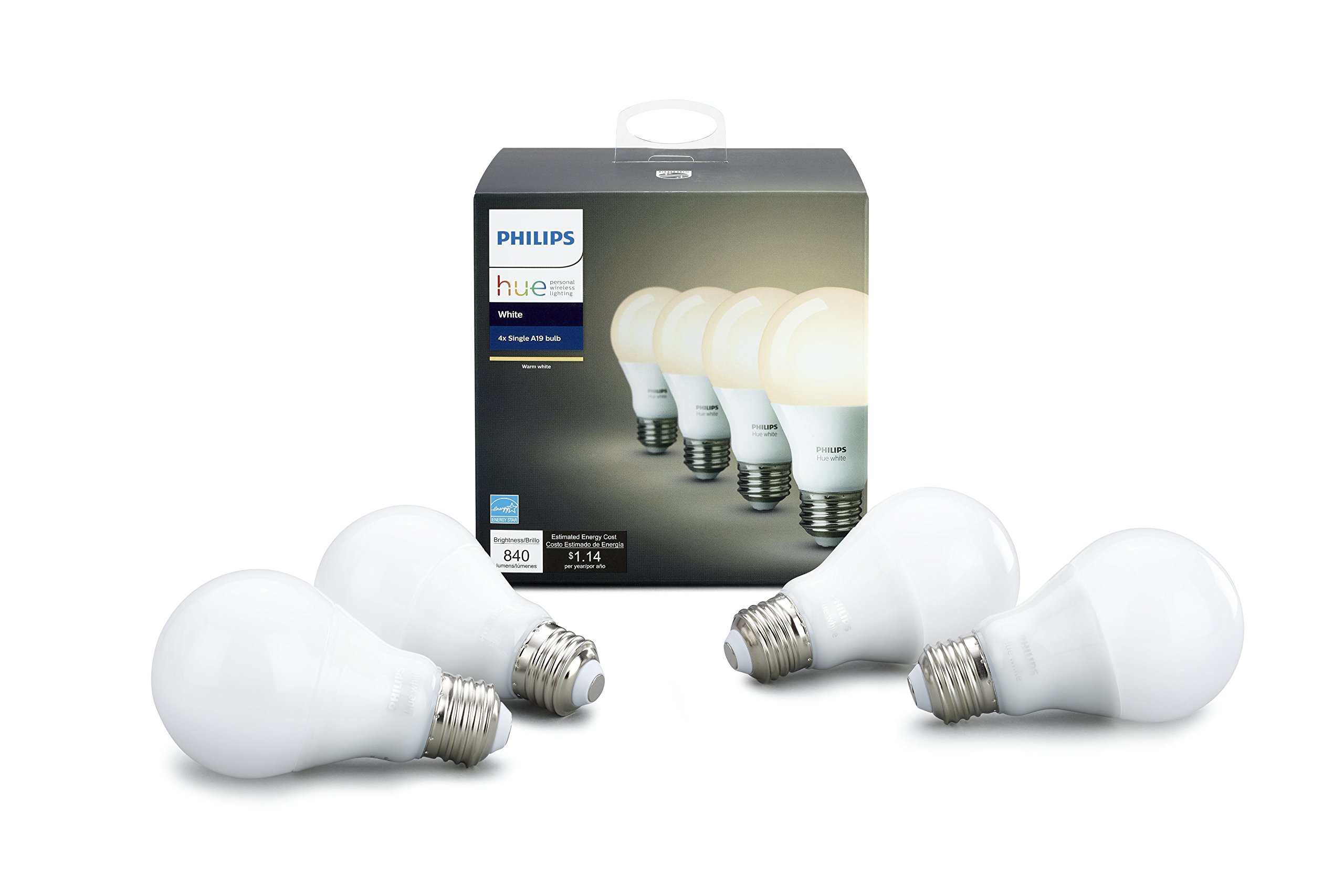 Hue White A19 4 Pack (Compatible with Amazon Alexa, Apple Home Kit and Google Assistant) product image