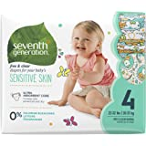 Seventh Generation Free and Clear Sensitive Skin Size 4 Baby Diapers with Animal Prints 108 Count