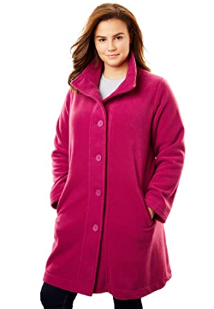 e0fac9ff3fd Amazon.com  Woman Within Women s Plus Size Fleece Swing Funnel-Neck Jacket   Clothing
