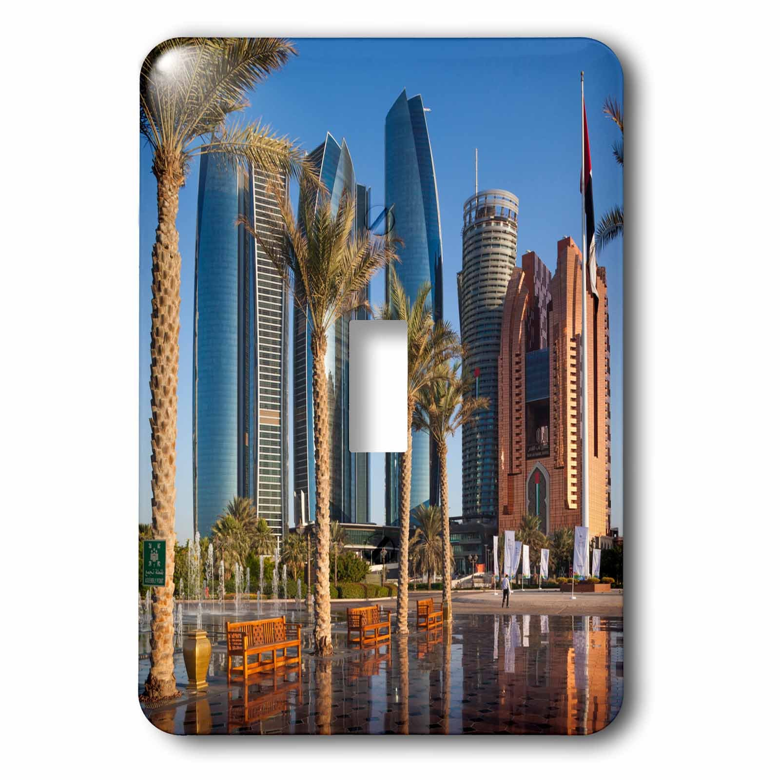 3dRose Danita Delimont - Cities - UAE, Abu Dhabi. Etihad Towers and Emirates Palace Hotel fountains - Light Switch Covers - single toggle switch (lsp_277135_1)