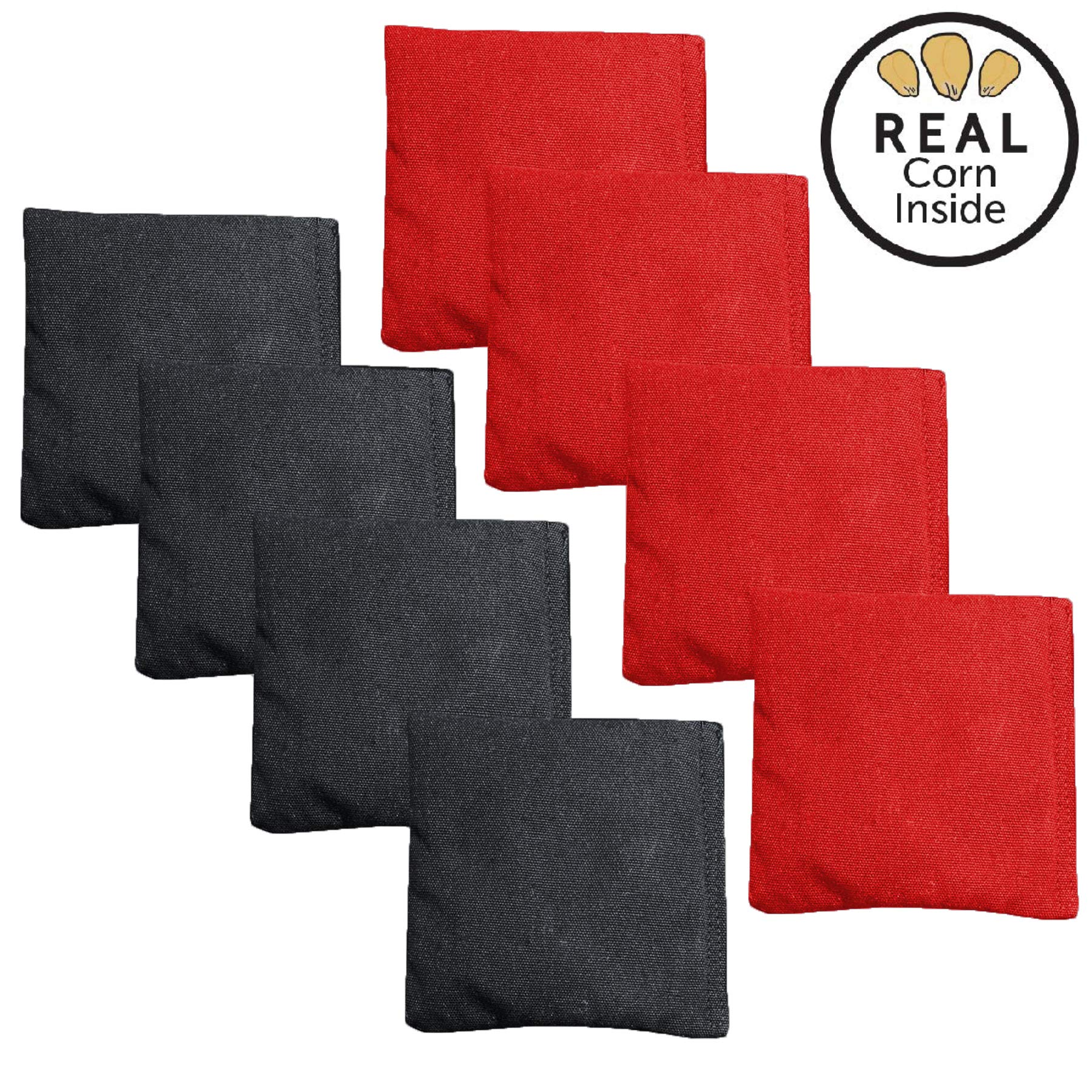 Corn Filled Cornhole Bags - Set of 8 Bean Bags for Corn Hole Game - Regulation Size & Weight - Red and Black by Play Platoon