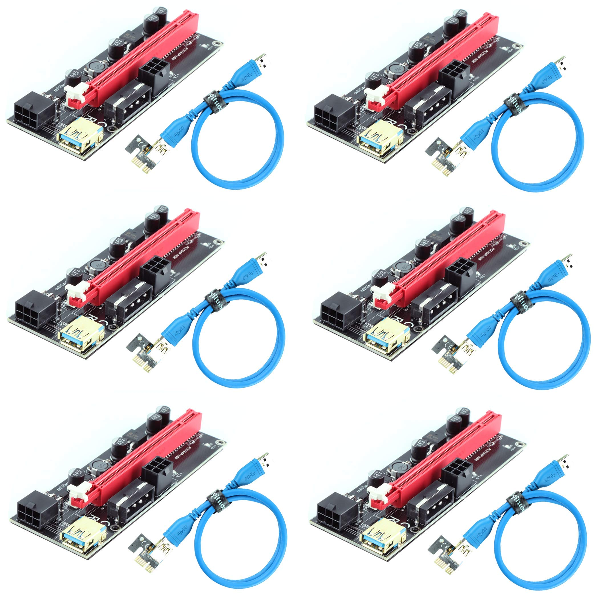 6 Pci-e Riser VER 009S Cripto mineria Con Cable Molex Ziyitu