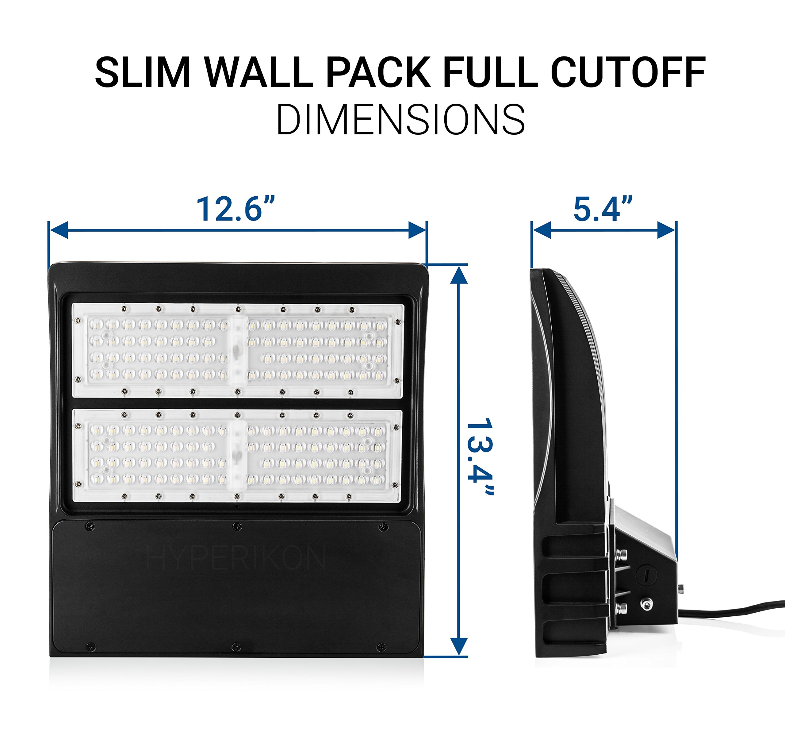 Hyperikon LED Wall Pack Slim 80W, 5000K (Crystal White Glow),10400lm,Mounted Base,IP65 Waterproof Dustproof,Full Cutoff–Outdoor Wall Packfor Security Light, Professional Use, Building Light