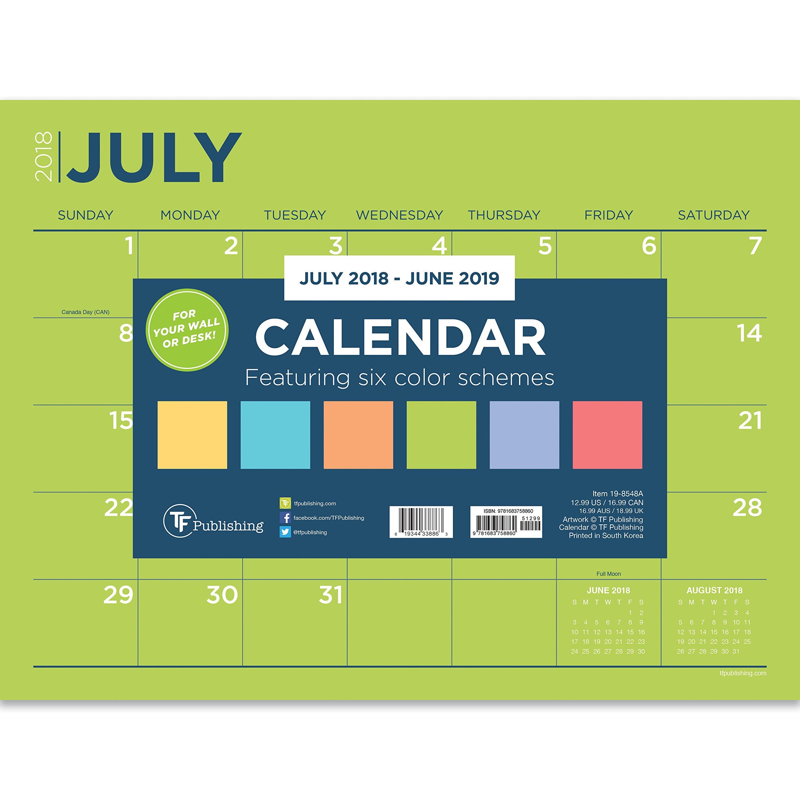 TF Publishing 19-8548A July 2018 - June 2019 Color Collection Mini Desk Pad Calendar, 12 x 9'', Multi Colored