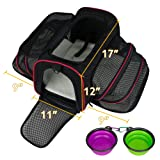 LOGROTATE Pet Carrier Airline Approved Portable Airplane Cat Carrier Dog Carrier Double Sides Expandable Travel Carriers Bag Purse for Dogs Cats Kittens Puppies and Small and Medium Animals
