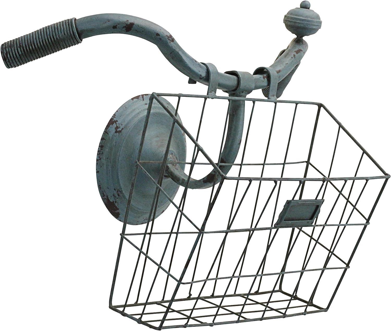 Design Toscano FU82174 Weather Worn Vintage Bicycle Basket Wall Planter Magazine Rack Sculpture, Blue