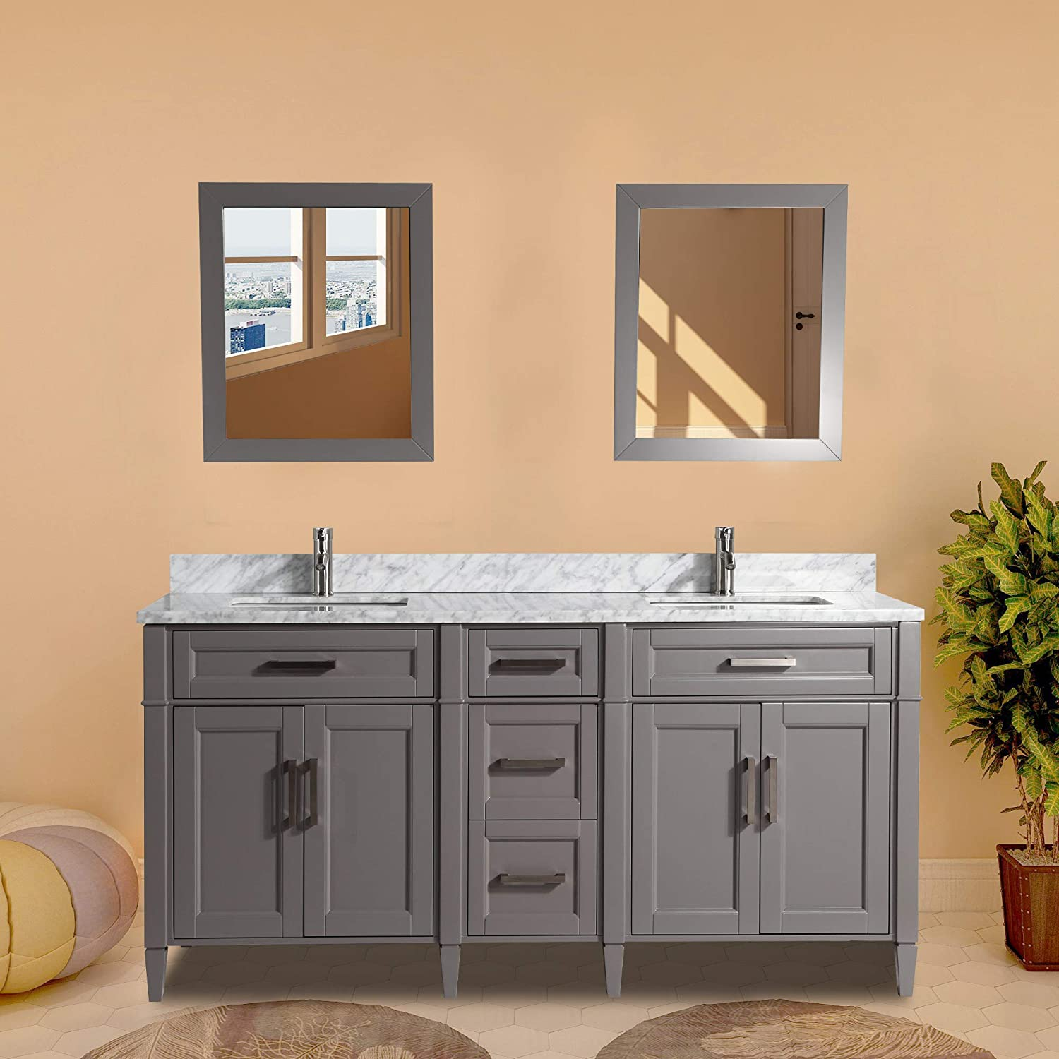 Vanity Art 72 Inch Double Sink Bathroom Vanity Set Carrara Marble Stone Soft Closing Doors Undermount Rectangle Sinks with Free Two Mirror – VA2072-DG