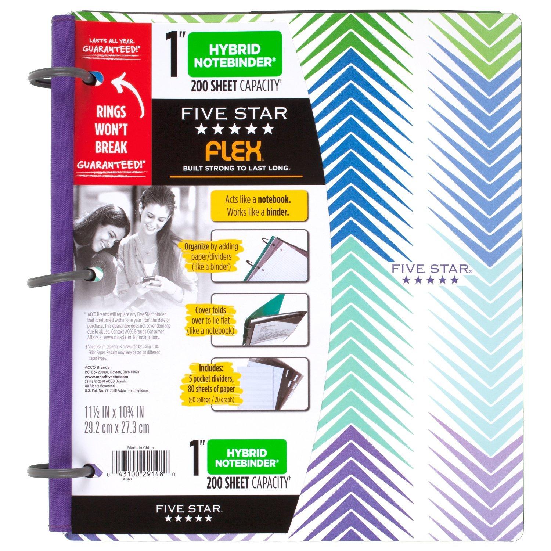 five star flex hybrid notebinder 1 inch binder style arrow