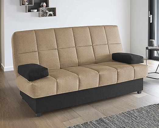 Abitti Sofá Cama EKO tapizado en Tela marrón Arena con somier abatible, colchón y arcón para salón Comedor