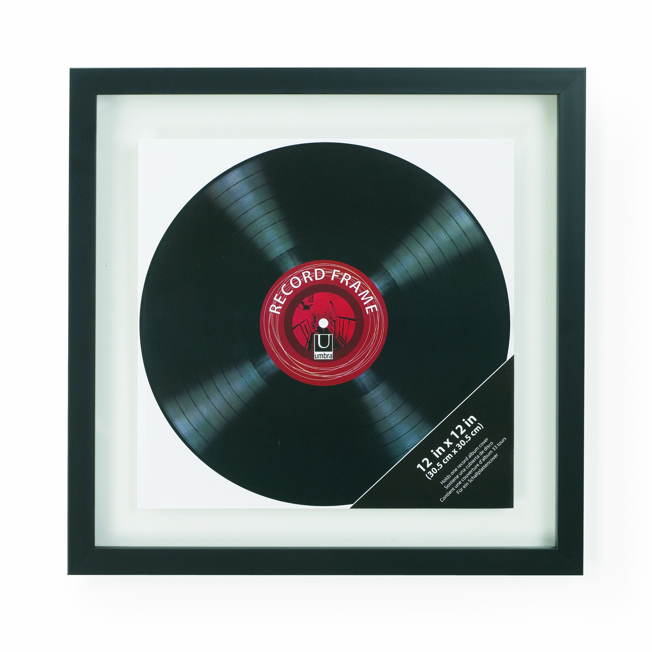 Umbra Record Album Frame 14-1/2x14-1/2-Inch, Modern Picture Frame Designed to Display a Floating 12-Inch by 12-Inch Album Cover