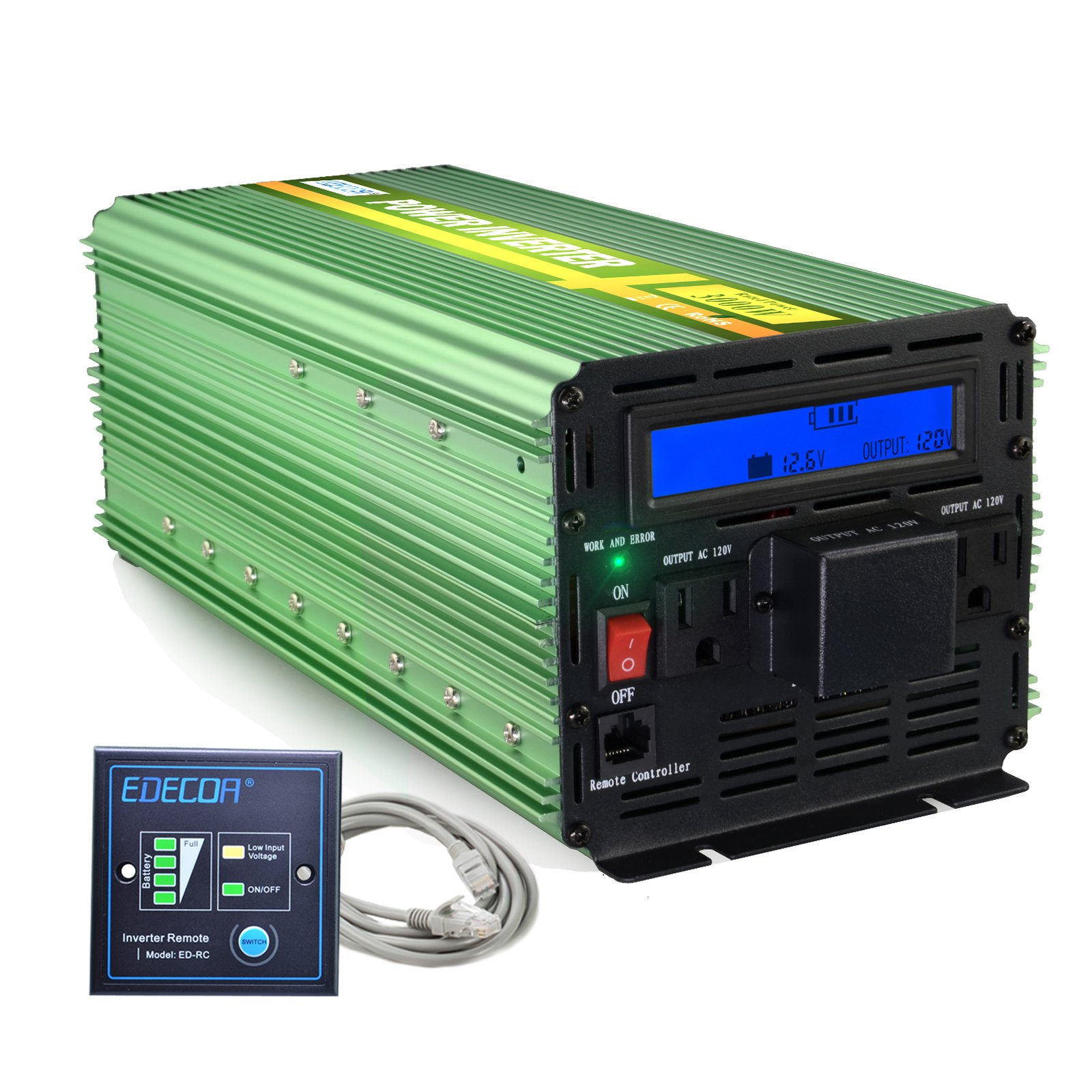 EDECOA 3000 Watts Power Inverter 12V DC to 120V AC with LCD Display and Remote Controller 2 US Outlets and Wiring Port
