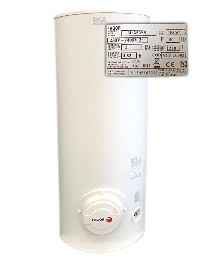 M-250 SS - Calentador de agua electrico 250 litros, 3000W Potenxcia, Termos Eléctricos de suelo, Dimensiones (mm.) 1.4820, x 570 x 50: Amazon.es: Hogar