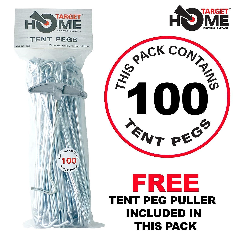 Target Homewares® 100pc Heavy Duty–Piquetas | Acero Galvanizado | libre Tent Peg Puller TH-01X100