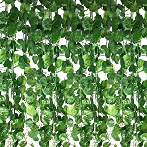 Guagb 12 Strands Artificial Ivy Leaf Plants Vine Hanging Garland Fake Foliage Flowers Home Kitchen Garden Office Wedding Wall Decor, 84 Feet, Green