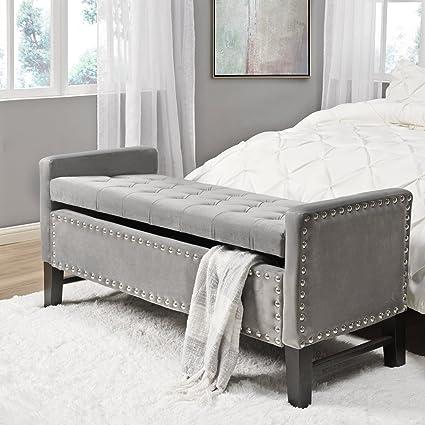 Columbus Grey Velvet Storage Bench   Tufted | Nailhead | Upholstered |  Inspired Home