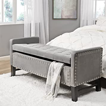 grey tufted storage bench. Inspired Home Columbus Velvet Modern Contemporary Button Tufted With Silver Nailhead Trim Multi Position Storage Bench Grey F