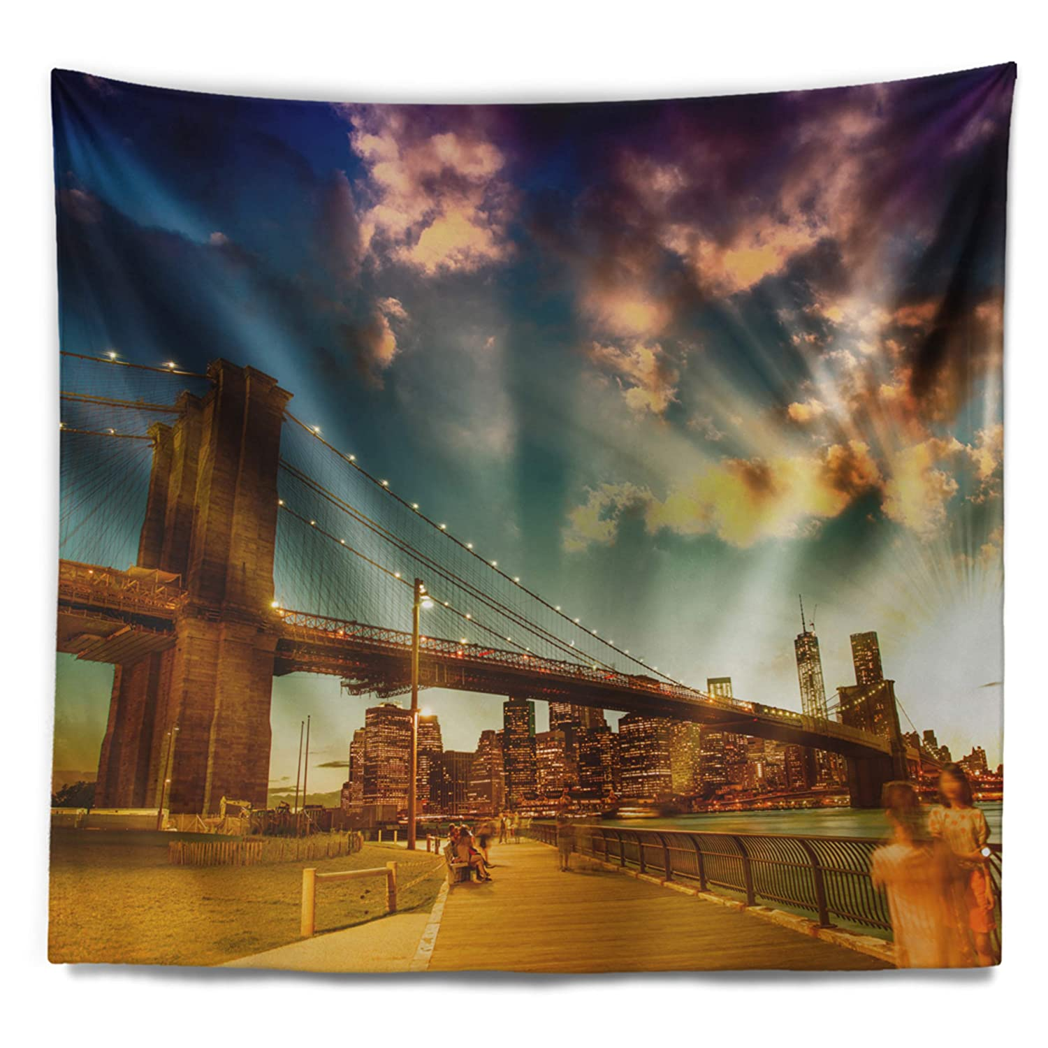 80 x 68 Designart TAP14298-80-68  Relaxing in Brooklyn Bridge Park Cityscape Blanket D/écor Art for Home and Office Wall Tapestry x Large