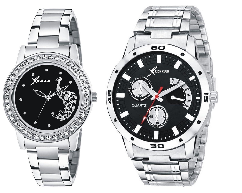 Rich Club Analogue Black Dial Men's & Women's Couple Watch