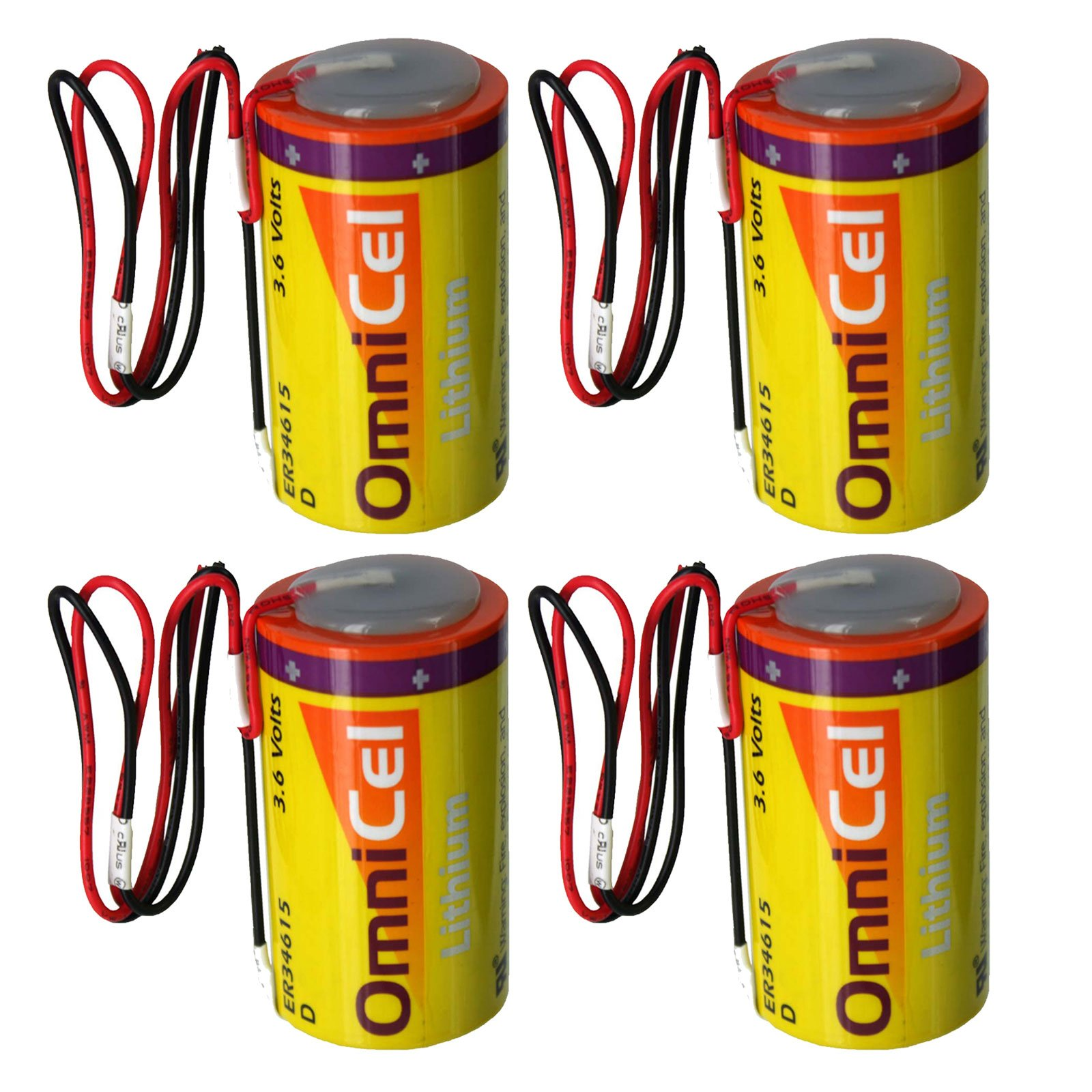 4x OmniCel ER34615 3.6V 19Ah Size D Lithium Battery with Wire Leads For Carbon Monoxide Detectors, Intrusion Sensors, Invisible Fencing, Emergency Backup, Data Collection, AMR Add-ons by Exell Battery