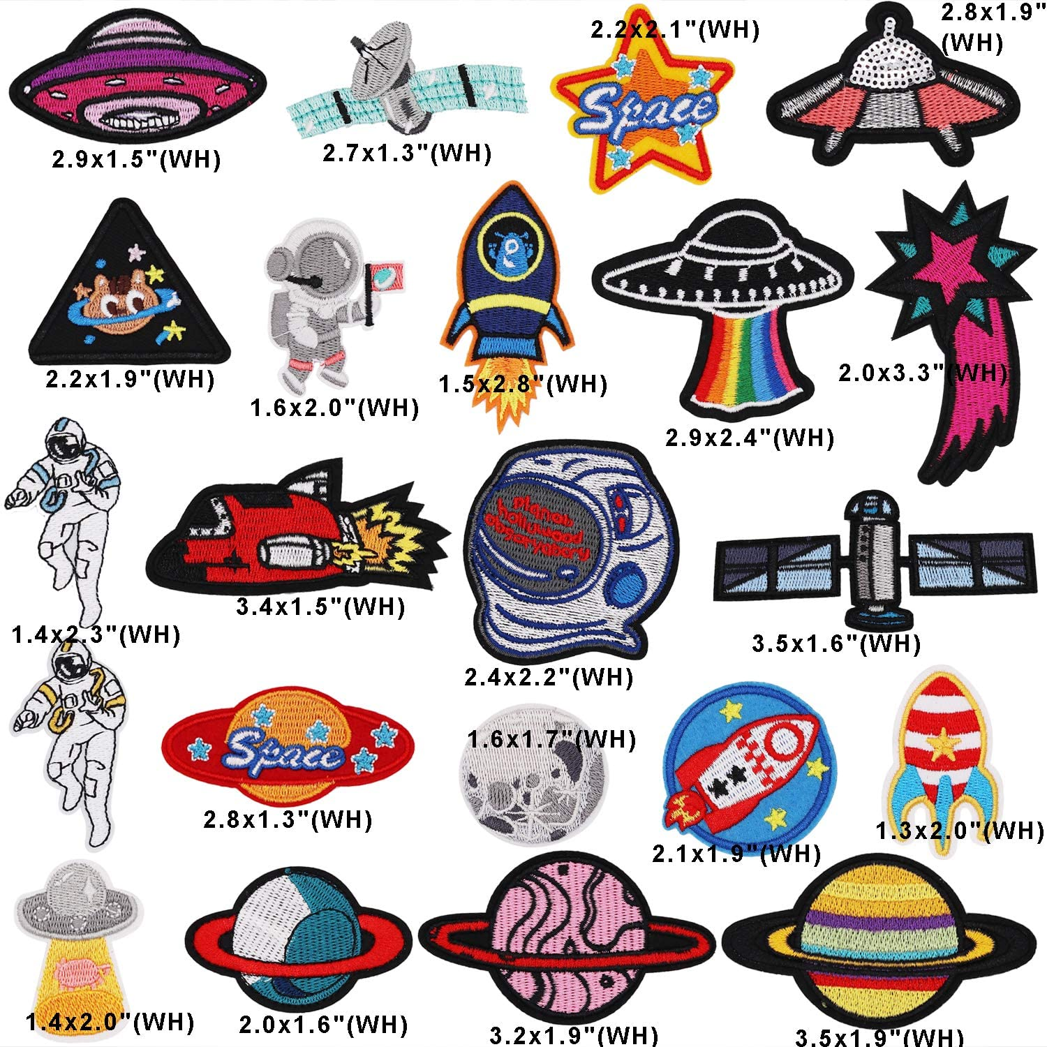 Space 22pcs 22pcs Space Planet Astronaut Iron on Patches Embroidered Motif Applique Decoration Sew On Patches Custom Patches for DIY Jeans Bag Jacket,Kids Clothing Caps Arts Craft Sew Making