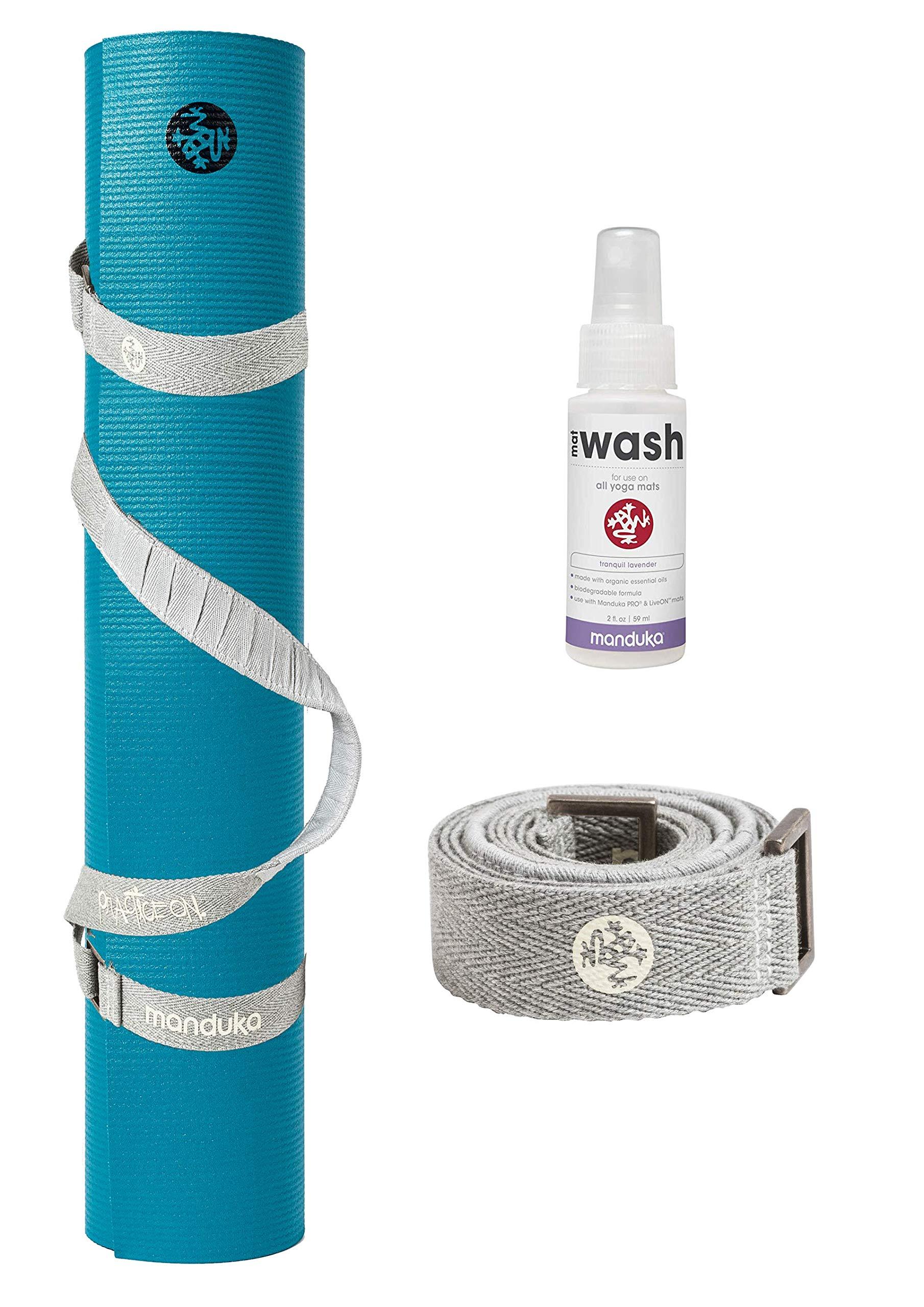 PlayBetter Manduka PRO Yoga and Pilates Mat Bundle | Includes Manduka Yoga Mat Strap & Lavender Mat Wash (Bondi Blue, Standard (71''))