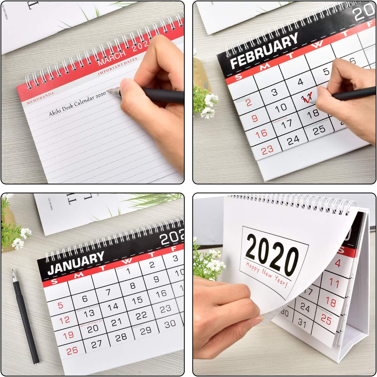 Akihi Standing Desk Calendar 2020 Academic Year,12 Monthly Planner with Tabs Double Sided Designs,9.5 /× 6.5 inches,Thick Paper