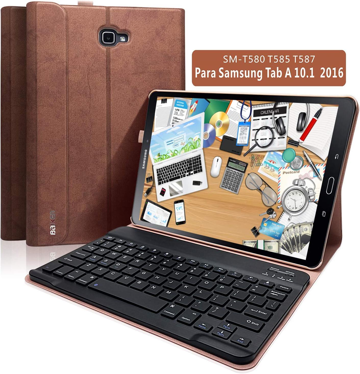 BAIBAO Teclado Tablet 10.1 para Samsung Galaxy Pro 10.1 Pulgadas SM-T580 / T585 / T587,Teclado Español Inalámbrico Bluetooth Desmontable Magnéticamente con Cubierta Delgada (Marrón)