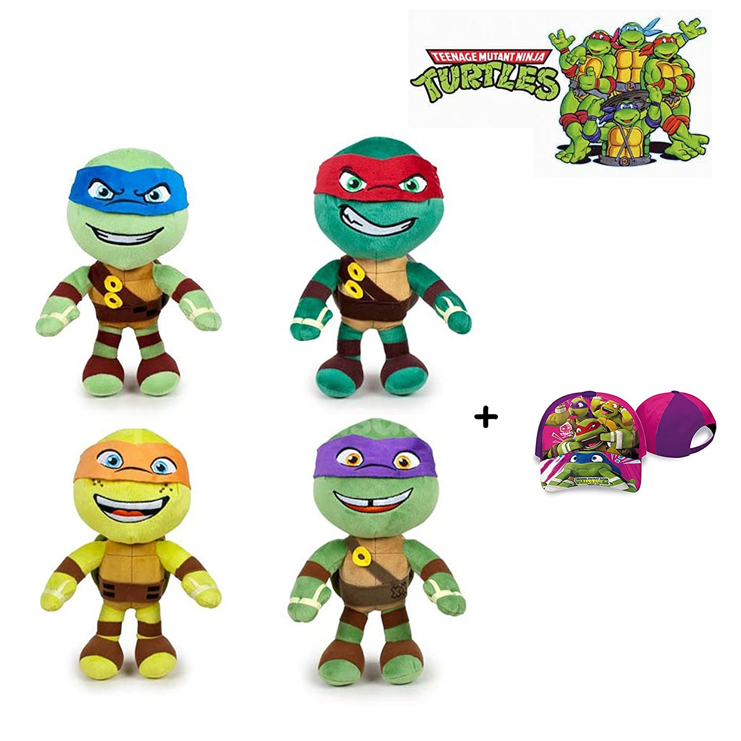 Tortugas Ninja - Pack 4 peluches 21cm Calidad super soft ...