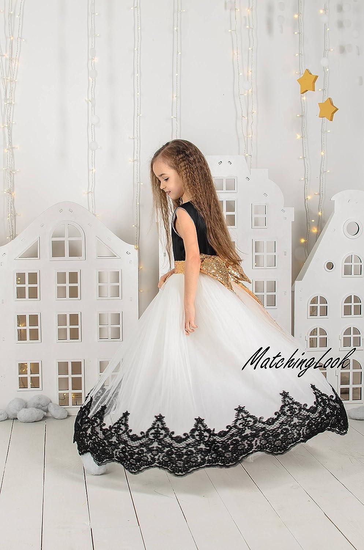 da16bf0da Amazon.com: Black and White First Birthday Dress Dresses Long Girl Birthday Tutu  Dress Outfit Lace Flower Girl Dress Ivory Tutu Dress Black Baby Dress: ...