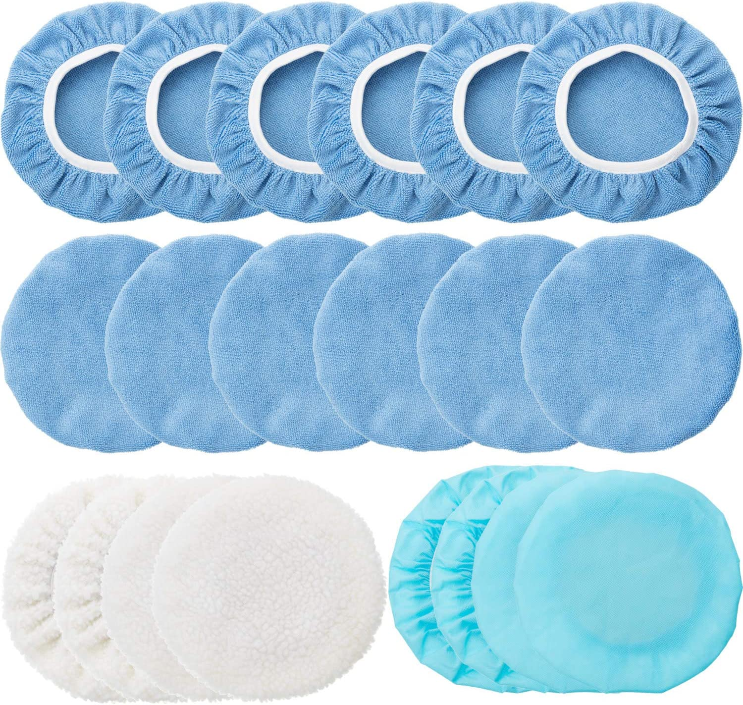 20 Pieces Car Polisher Pad Bonnet Microfiber Max Baxer Bonnet Polishing Bonnet Buffing Pad Cover (9-10 Inches)