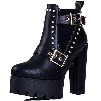 d98b6bc3e2f314 Spylovebuy KKNIGHT Femmes Ajustable Boucle à Talon Bloc Chelsea Boots  Bottines: Amazon.fr: Chaussures et Sacs