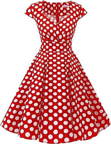 TALLA 3XL. Bbonlinedress Vestido Corto Mujer Retro Años 50 Vintage Escote Red White Big Dot 3XL