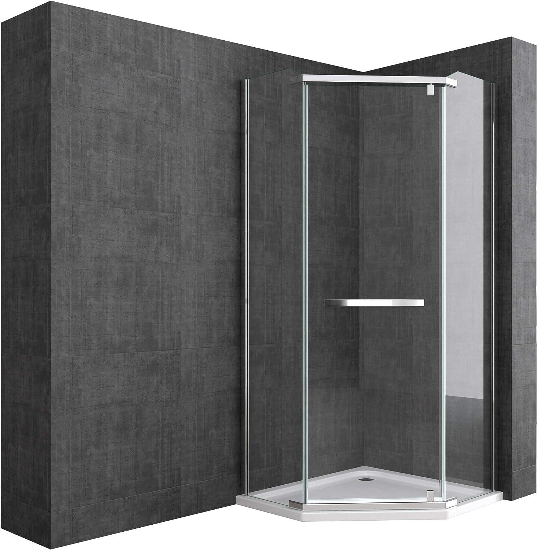 doporro Cabina de ducha de cuarto de círculo Rav08K 100x100x195cm, mampara de vidrio de seguridad templado transparente | Con plato de ducha plano de 4cm blanco: Amazon.es: Bricolaje y herramientas