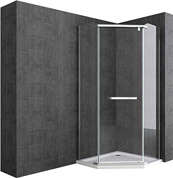 doporro Cabina de ducha de cuarto de círculo Rav08K 90x90x195cm, mampara de vidrio de seguridad templado transparente | Con plato de ducha plano de 4cm blanco: Amazon.es: Bricolaje y herramientas