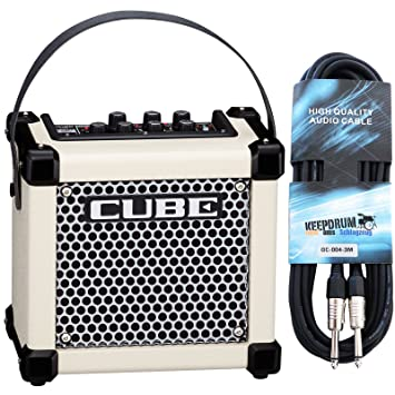 Roland Micro Cube GX Guitarra Amplificador + Keepdrum Guitarra Cable 3 m, Weiss