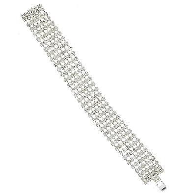 81dd1b62d 6 Row Tennis Swarovski Crystal Bracelet in Silver Plated / Swarovski  Crystal Bracelet 6 Strand in