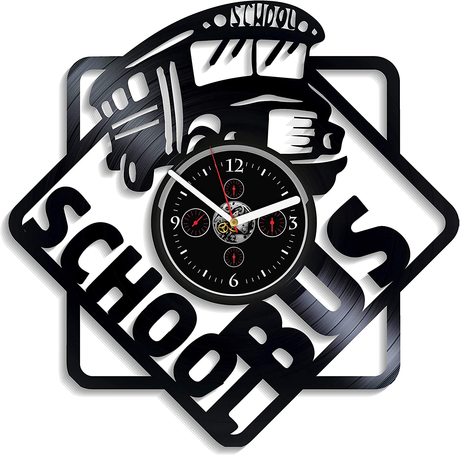 School Bus Wall Clock Vintage Vinyl Record Retro Wall Clock School Bus Art Exclusive Wall Clock 12 Inch Birthday Gift School Bus Gift New Year Gift School Bus Handmade Clock Xmas Gift