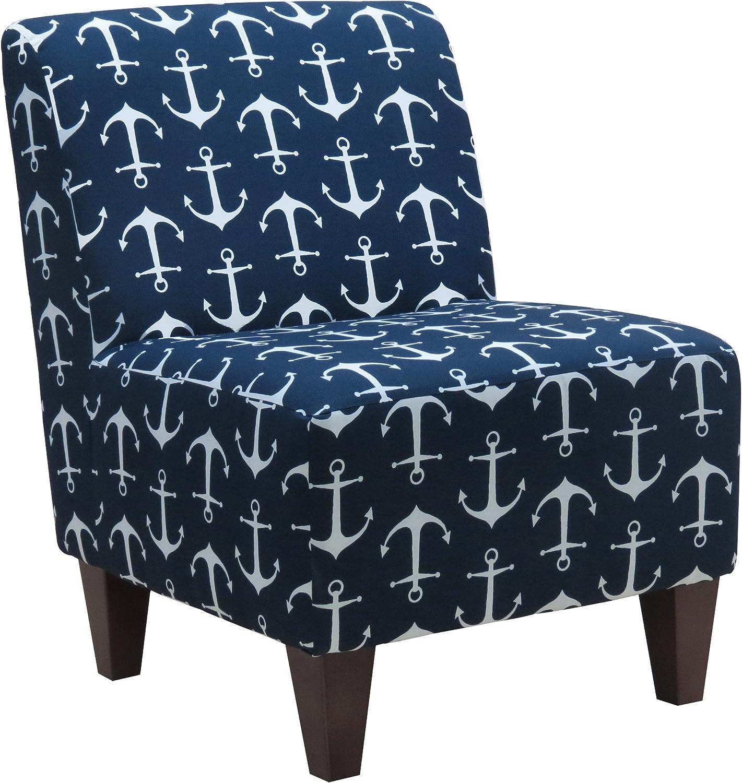 Parker Lane Armless Slipper Chair, Microfiber Navy Blue Sailor Anchor