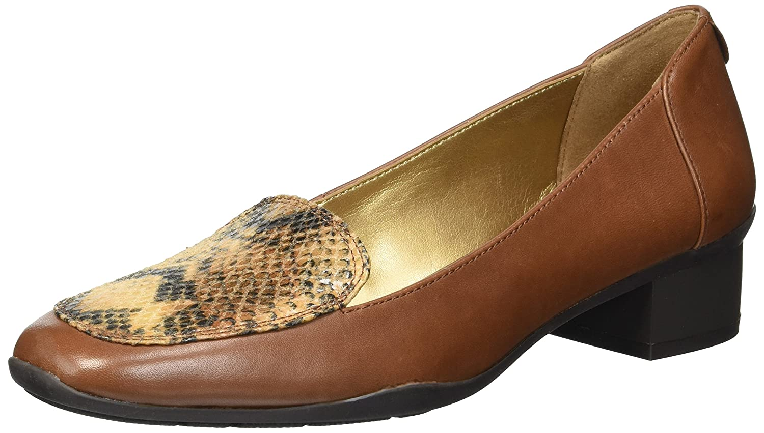 Anne Klein Women's Daneen Leather Pump B0777ZJ3TX 5.5 B(M) US|Dakr Cognac Leather