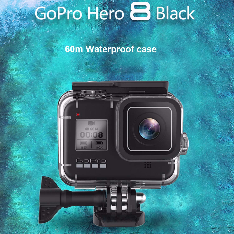 Skyreat Color Negro Carcasa Impermeable para GoPro Hero 8