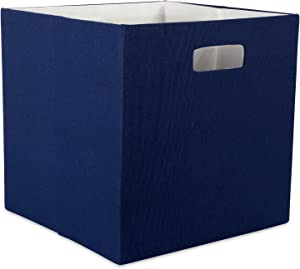"DII Hard Sided Collapsible Fabric Storage Container for Nursery, Offices, & Home Organization, (13x13x13"") - Solid Nautical Blue"