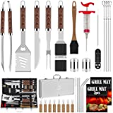 ROMANTICIST 31pcs BBQ Grill Tool Set for Men Dad, Heavy Duty Stainless Steel Grill Utensils Set, Non-Slip Grilling Accessorie