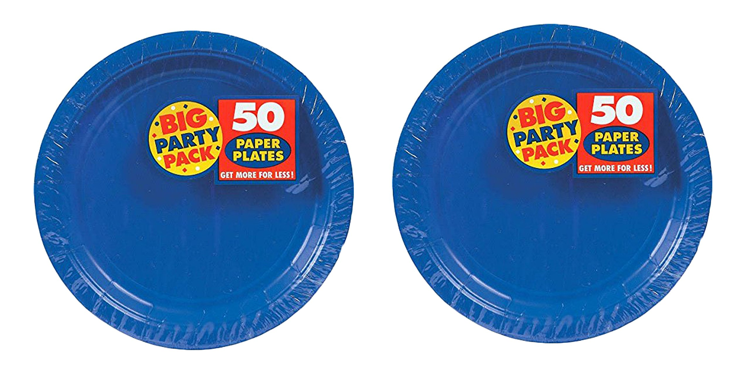 Maven Gifts Big Party Pack Paper Dinner Plates 9-Inch 50/Pkg Bright Royal Blue 2 pack