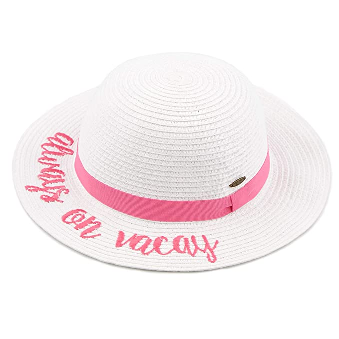 a8230afb1bc Amazon.com: C.C Straw Embroidered Lettering Floppy Brim Sun Kids Hat ...
