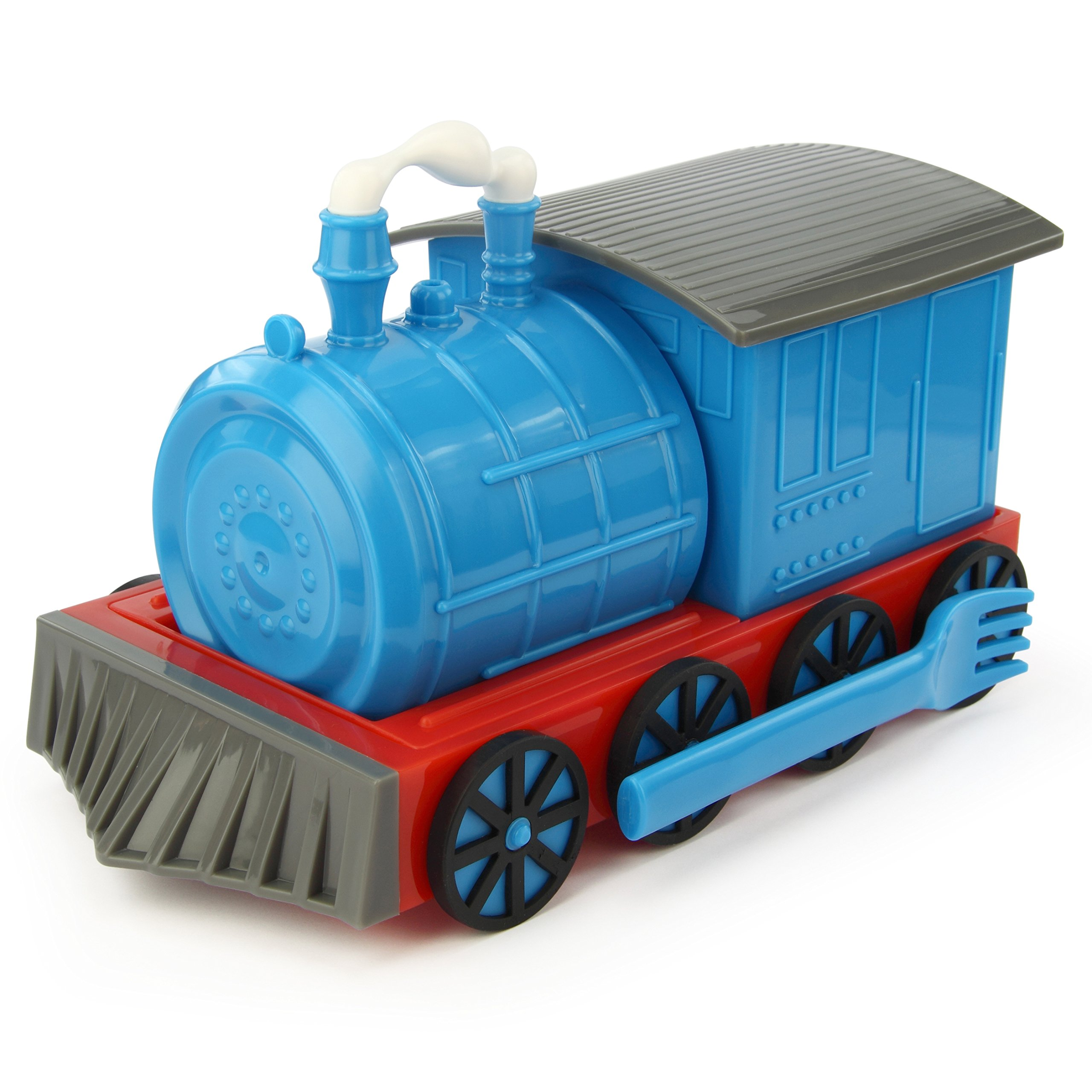 KidsFunwares Chew-Chew Train Place Setting, Blue - Transforms from a Train into a Functional Meal Set - Includes Bowl, Small Plate, Plate, Fork, Spoon, and Cup - Great Gift for Kids - Dishwasher Safe