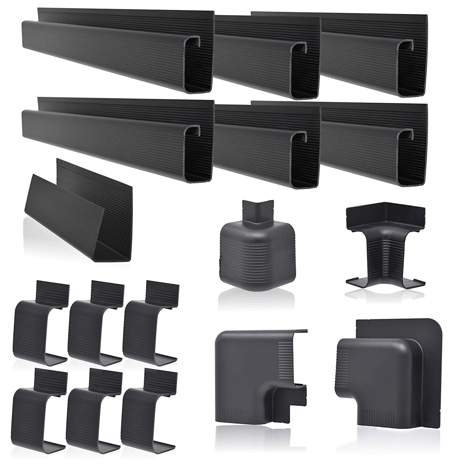 """J Channel Cable Raceway System, 100"""" Total, Cable Management Solution for Desk, Office, Kitchen or Workshop, Includes Couplers to Cover Gaps and Solution for Power Blocks and Outlet Strips"""