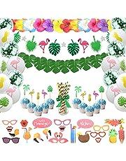 SHI WU Ensemble de décoration de fête Tropicale, Feuilles Tropicales Flamingo Banner Hawaii à thème soirée Estivale Photo Booth Props pour Jungle Beach Pool Theme, Paquet de 96