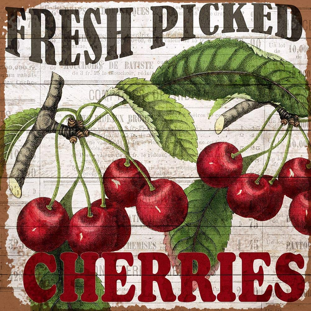 Losea Fresh Picked Cherries Retro Vintage Tin Bar Sign Country Home Decor 8x8 Inches