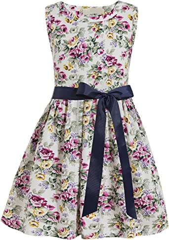Qzrnly Girls Floral Classy Dresses Kids Unicorn Summer Sleeveless Dress for Wedding/Party/Casual Outfits